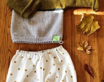 Bloomer en coton bio blanc à petits pois dorés