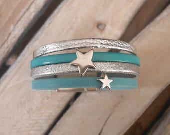 CLEARANCE leather Cuff Bracelet silver and turquoise with silver stars loops (BR09)