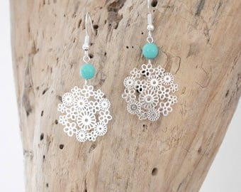 SALE dangle earrings with Pearl and filigree Pendant (BO134) flowers