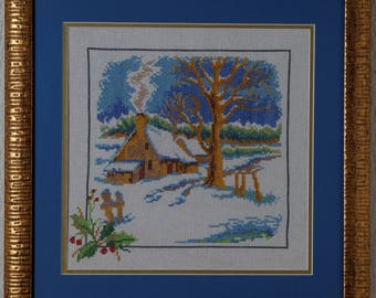 Framed Needle Work Wall Decor Picture  38x38 cm Winter