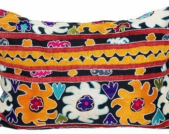 marvelous uzbek silk handmade embroidered suzani large pillow case cushion 1120