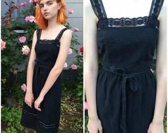 Vintage Black Lace Pintucked Sleeveless Tank Summer Prairie Bohemian Union Made ILGWU Dress