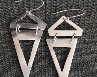 Geometric Sterling Silver Reticulated Drop Earrings