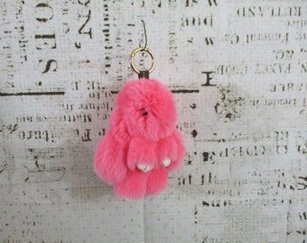 "Pink rabbit fur bunny key chain, 6"""