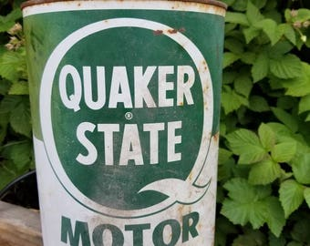 Antique Quaker State Motor Oil Can-NICE!