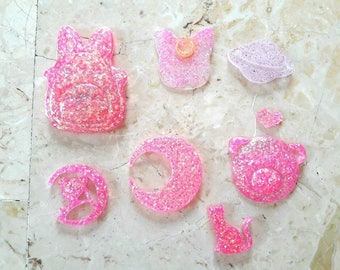 8 mix resin Cabochons Fuchsia with Glitter. HANDMADE