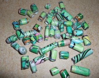 Mainly Green handmade paper beads