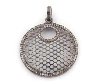 50% off 1 Pc Pave Diamond Round With Cutout Round Pendant - 925 Sterling Silver - Diamond Antique Finish Pendant 34mmx29mm PDJ026