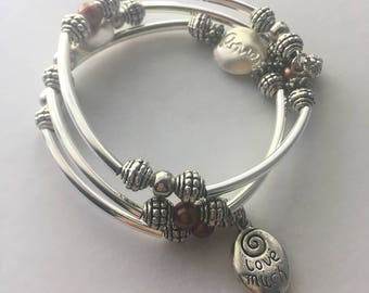 Silver 3-wrap Memory Wire bracelet with charms
