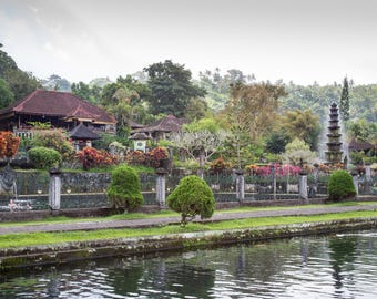 Water Temple Bali Travel Photo, Large Wall Decor, Landscape Photography, Contemporary Art, Photos on Canvas
