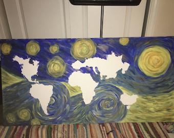 Starry Night World Map Original Painting