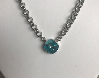 Swarovski Crystal Pendant Necklace, 12 mm, Light Turquois, Rhodium Chain
