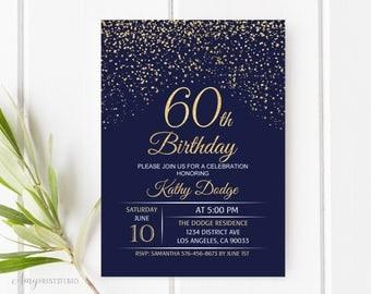 60th Birthday Invitation, Navy Gold Birthday Invitation, Blue and Gold Birthday Invite, PERSONALIZED, Digital file, #W48