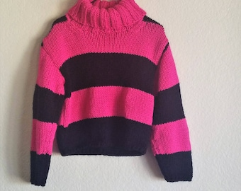 Hot Pink and Black Hand Knit Sweater for 6 Year Old Girls with Fold Down Oversized Ribbed Neck
