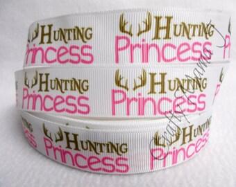 "Hunting Princess 7/8"" Grosgrain Ribbon by the yard, Choose 3/5/10 yards. Girl Deer Hunt Theme Country Girl Deer Hunt"