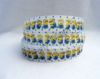 "Minion Ribbon 1"" Grosgrain Ribbon by the yard. Choose between  3/5/10 yards."