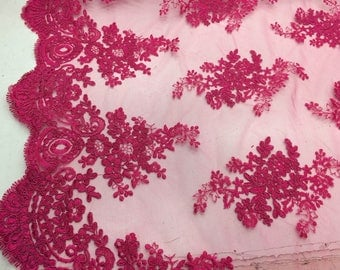 Fuchsia Flower Embroider On A Mesh Lace.36x50inches.bridal-wedding Lace.
