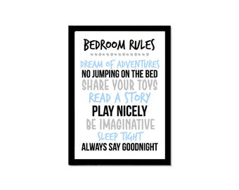 Charming Bedroom Rules Kids/Home/Nursery Print   Available In Foil