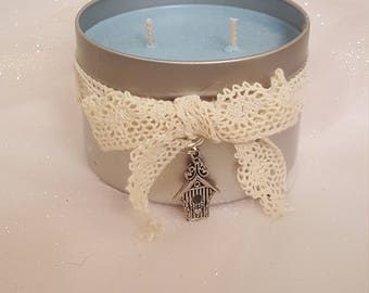 Blue Birdhouse Glitter Candle