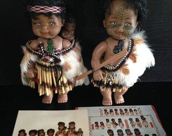 Vintage Maori Dolls, Made in New Zealand