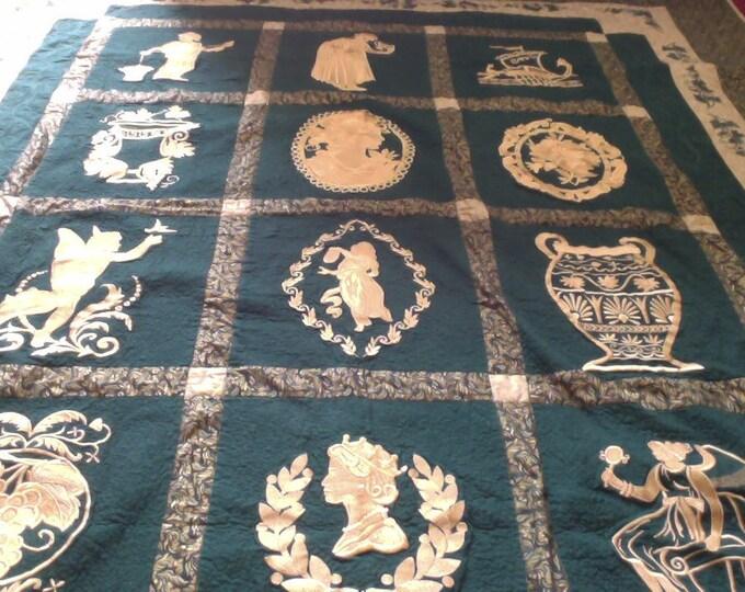 Award Winning Embroidered Grecian Garden Quilt In Gold and Green 76 in X 94 in, Green and Gold Embroidered Quilt Full Size, Green Quilt