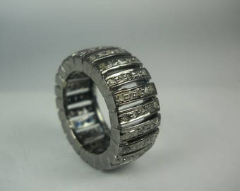 Bohemian fashion 2.30ctw pave diamonds patterned 925 sterling silver valentine's gift ring eternity band