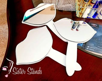 Hand-held Lip Mirror/ Lip Shape Mirror/ Vendor Mirror/ Makeup Mirror/ LipSense Stand/ Lipsense Display