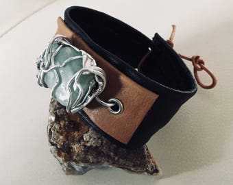 Leather Bracelet amazonite stone