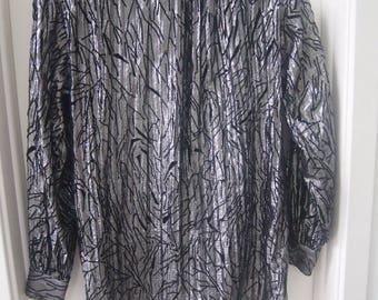 80s Escada Blouse Black Silk Margaretha Ley Black And  Silver Metallic Background With Velvet Organic Shapes Sheer European 34