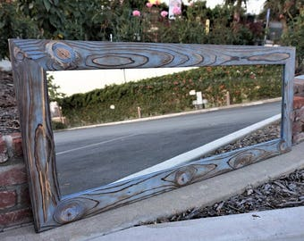 Reclaimed wood mirror/ floor mirror/ full length mirror/ bathroom mirrors/ blue mirror