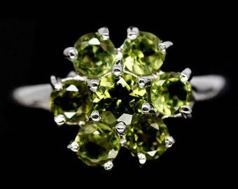 Gorgeous gold plated S925 silver ring and natural peridots