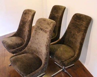 1970's brown velvet swivel chairs