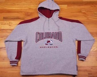 Vintage 90s Colorado Avalanche Hoodie Sweatshirt Jacket Size Large L