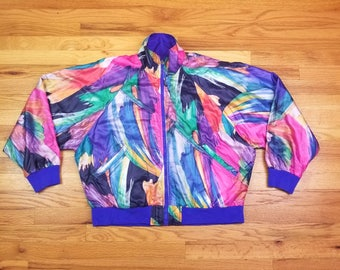 Vintage 80s Vaporwave Windbreaker Jacket Abstract Design Water Color 90s