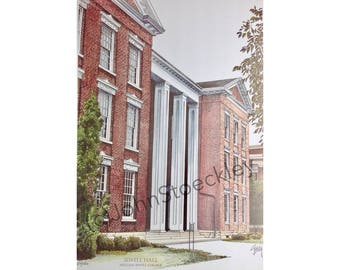 William Jewell College LIMITED EDITION Pen and Ink and Watercolor Art Print Illustration, Graduation, Alumni