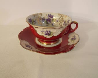 Winterling Bavaria Gold and Burgundy Tea Cup and Saucer Marked 32  #362