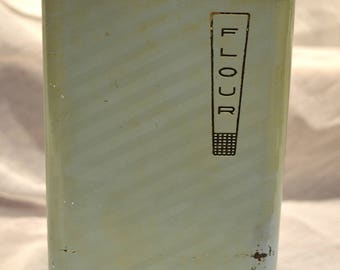 Lincoln Beautyware, Flour Canister, Blue, Mid-Century Modern, Metal Canister, MCM