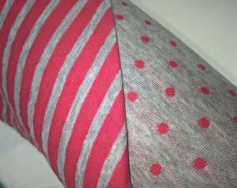 Organic jersey fabric cotton reversible red / ecru dots / stripes