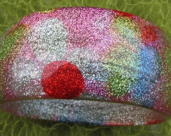 Vintage Retro Flower Power Lucite Early Plastic Glitter Bracelet Bangle 1960s