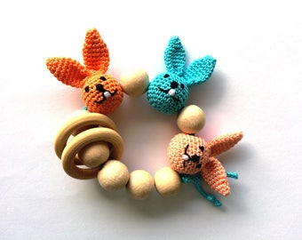 Baby Theether Wooden teething toy with rabbits head Organic Teething toy Crochet teether Wooden beads rattle Natural teether