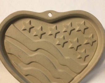 Pampered Chef Collectible Patriotic Heart American Flag Cookie Mold 2005,Patriotic Mold,Pampered Chef Cookie Mold,Pampered Chef,4th of July