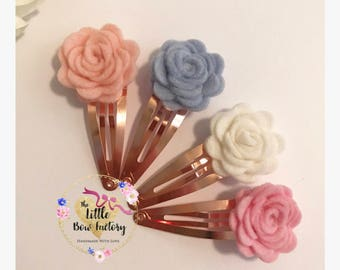Rose hair clips , felt roses , rose fringe clip , pastel rose clips , hair clip set , spring rose set