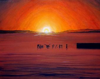 Original/ oil seascape painting/oil on canvas/pier art/vibrant seascape.