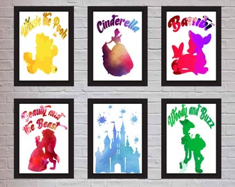 Set of 6 Watercolour Disney Inspired Prints