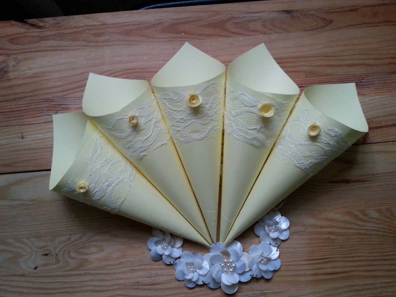 Wedding yellow confetti cones wedding rose petal confetti paper wedding yellow confetti cones wedding rose petal confetti paper cones for wedding flowers mightylinksfo Image collections