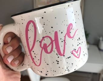 love coffee mug-love campfire mug-valentine-15 oz stoneware mug-coffee lover gift-calligraphy mug-engagement gift-love-