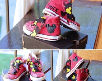 Mickey Mouse Birthday Outfit - Mickey Mouse Baby Shoes - Mickey Birthday - Disney - Disneyland - Disneyworld - Bling Shoes - Bling Converse