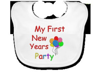 My First News Years Party Embroidered Baby's Bib