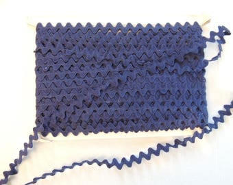 Cotton rickrack blue width 1.2 cm sold by the yard
