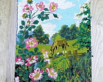 Horse meadow tapestry, finished unframed canvas, wall hanging decor, French tapestries, completed needlepoint item, housewarming gift,